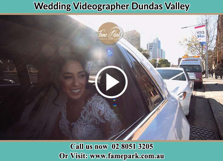 The Bride inside the wedding car Dundas Valley NSW 2117