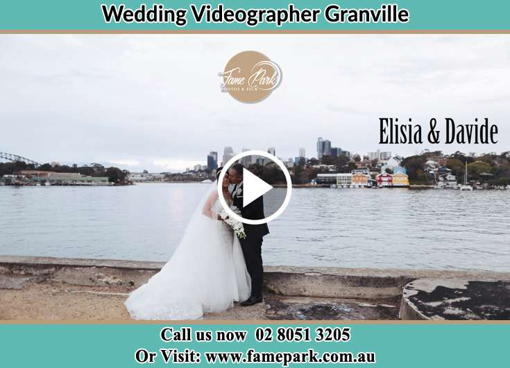 Bride and Groom kissed near the shore Granville NSW 2142