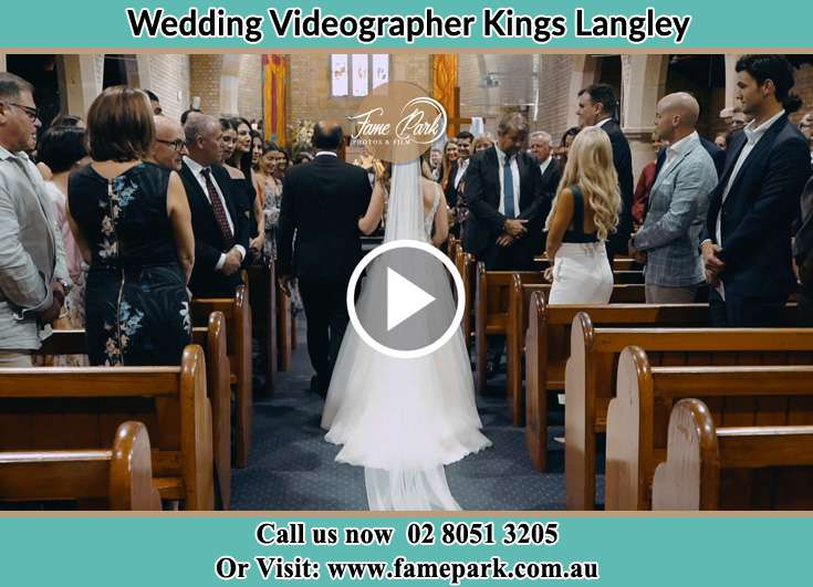 Bride and her father walking in the aisle Kings Langley NSW 2147