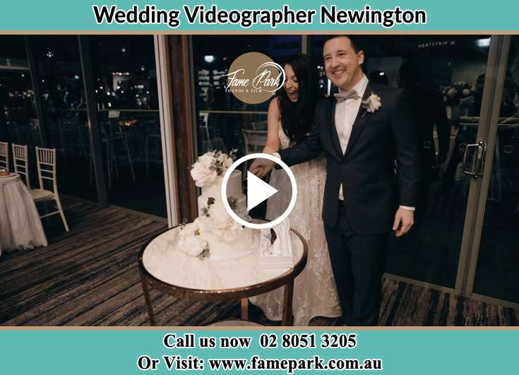 Bride and Groom cutting of cake Newington NSW 2127