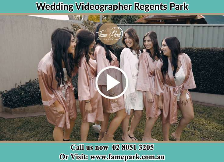 Bride and her secondary sponsors during pajama party Regents Park NSW 2143