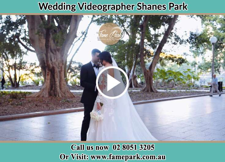 Bride and Groom looking at each other at the park Shanes Park NSW 2747