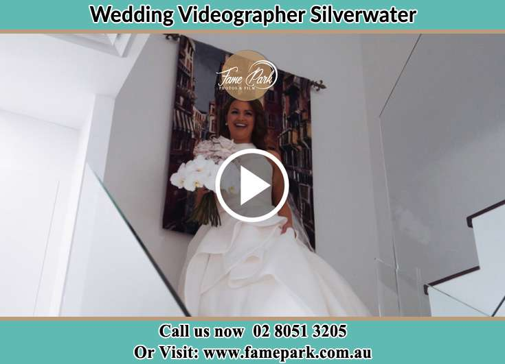 Bride walking down the staircase Silverwater NSW 2128